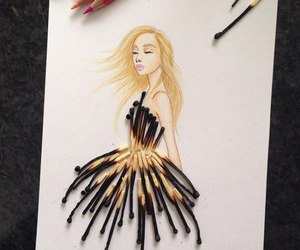 art, dress, and drawing image