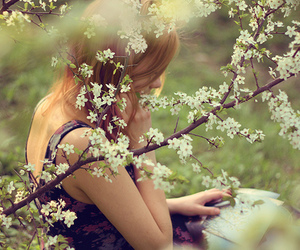 girl, flowers, and book image