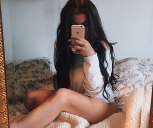 girl, iphone, and selfie image