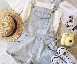 outfit, overalls, and summer image