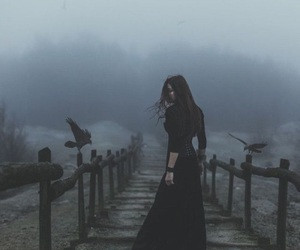 dark, witch, and raven image