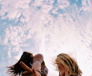 girl, friends, and sky image