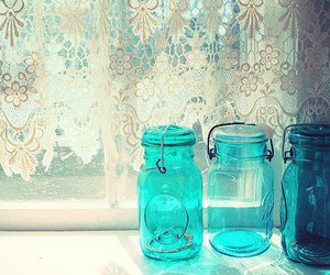 mason jars, shabby chic, and aqua mason jars image