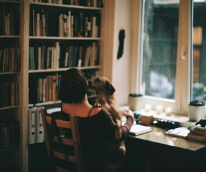 books, dog, and girl image