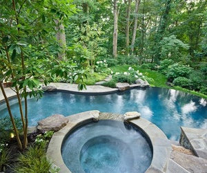 blue, garden, and outdoors image