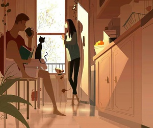 cat, home, and woman image
