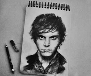 evan peters, drawing, and ahs image