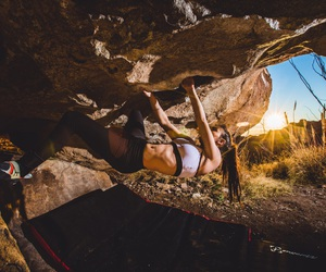 brunette, climb, and fitness image