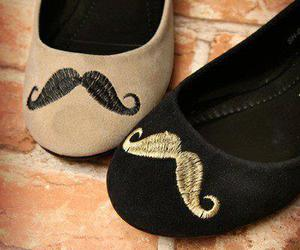 shoes, mustache, and moustache image