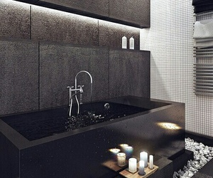 bathroom, black, and design image