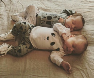 baby, twins, and cuddling image
