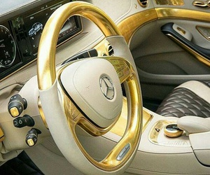car, gold, and mercedes image
