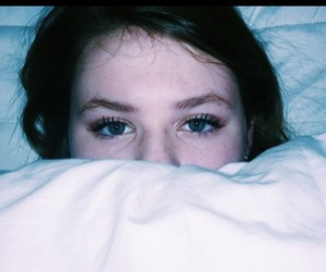 bed, eyebrows, and eyes image
