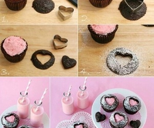 cupcake, diy, and heart image