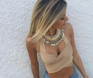 blonde, crop top, and clothes image