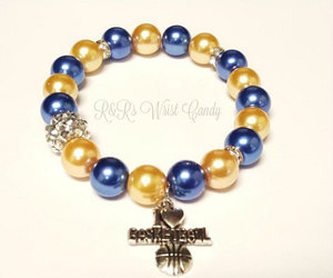 charm bracelet, etsy, and blue and yellow image