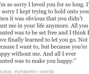 quote, happy, and sorry image