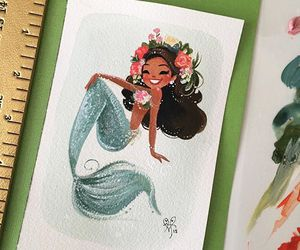 mermaid, paint, and watercolor image