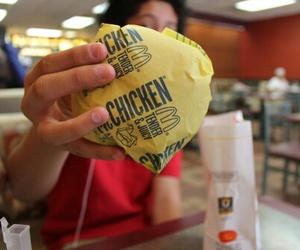 food, girl, and burger image