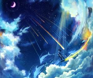 moon, anime, and art image