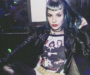 alternative, blue hair, and leather jacket image