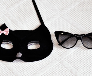 black and white, cat eye, and cat mask image