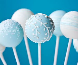 blue, cake, and cake pops image