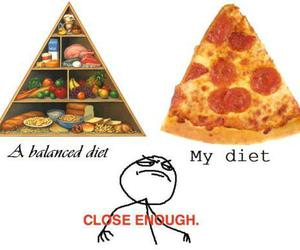 diet, funny, and pizza image