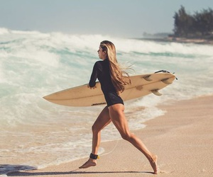 surf, girl, and beach image