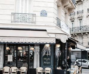 city, paris, and restaurant image