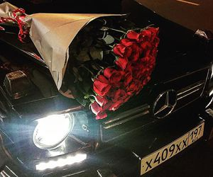 car, roses, and luxury image