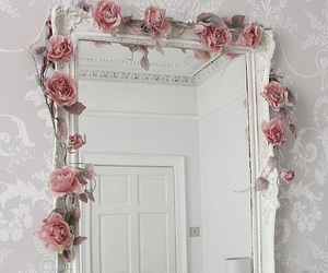 rose, mirror, and flowers image
