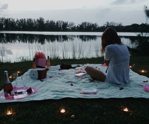 picnic, lake, and romantic image