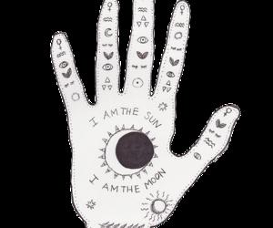 hand, moon, and sun image