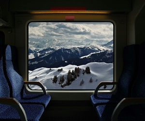 train, snow, and mountains image