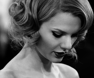Taylor Swift, black and white, and hair image
