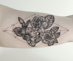 arm, flowers, and inked image