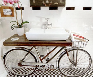 bathroom, bike, and home image