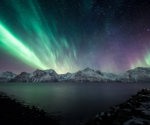 northern light, norway, and galaxy image