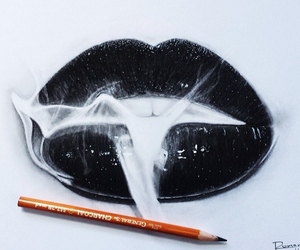 lips, art, and black image