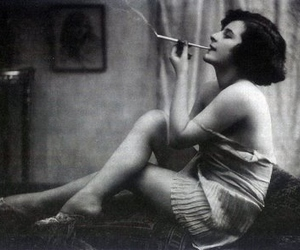 black and white, smoking, and woman image
