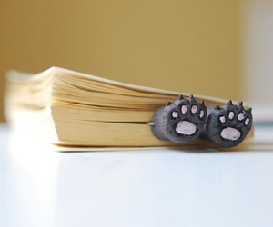 book, paws, and bookmark image