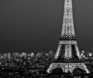 black and white, eiffel tower, and travel image