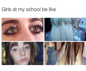 funny, school, and hair image