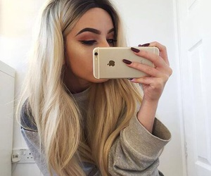 girl, hair, and iphone image