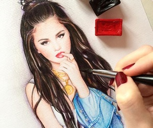 drawing, lady, and selena gomez image