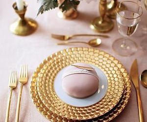 gold, pink, and wedding image