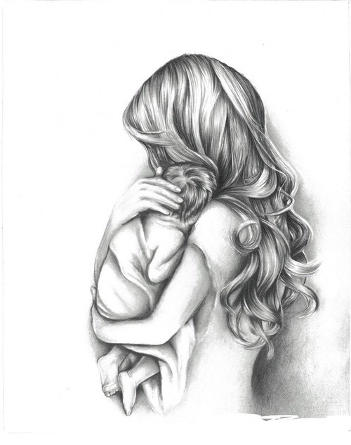 baby, art, and mama image