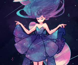 girl, galaxy, and anime image