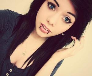 girl, piercing, and black hair image